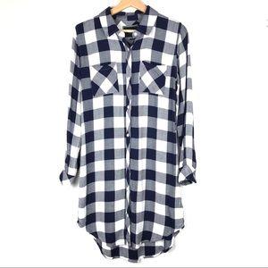 RAILS shirt dress XS blue white buffalo plaid d115